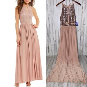 Morgan's & Co Rose Gold Sequin Bodice Keyhole Gown